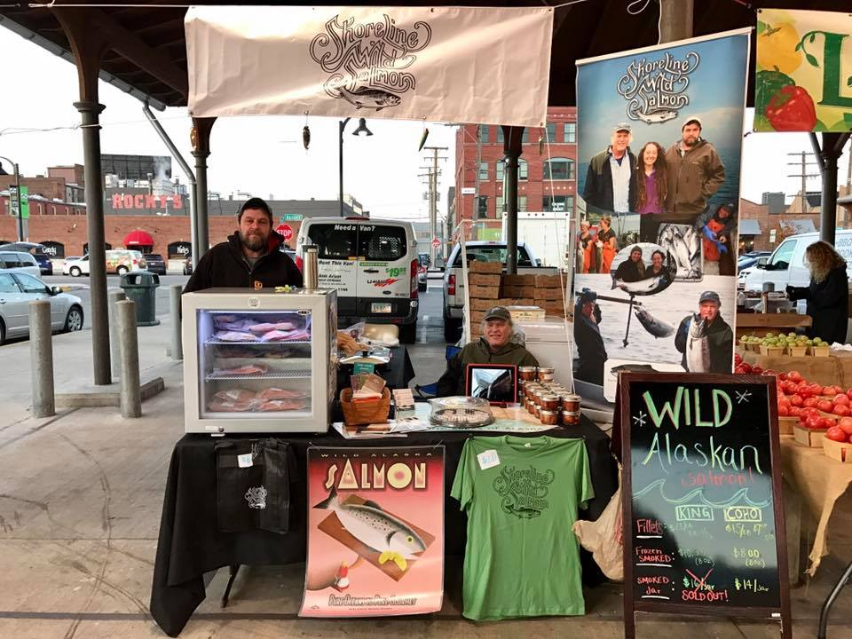 Keith and Joe selling Shoreline Wild Salmon at Eastern Market, Detroit
