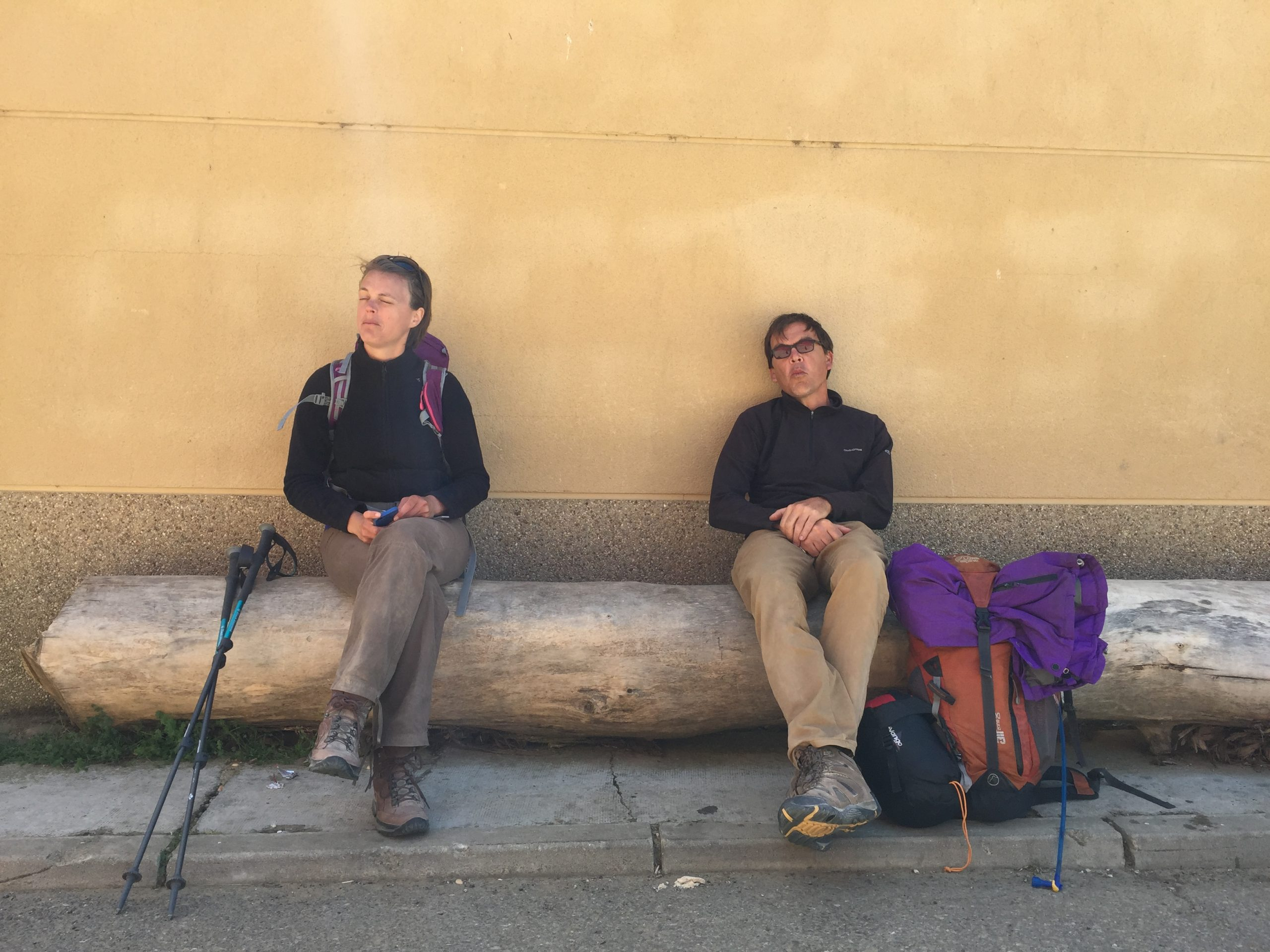 New Friends and I Stop to Rest on the Camino
